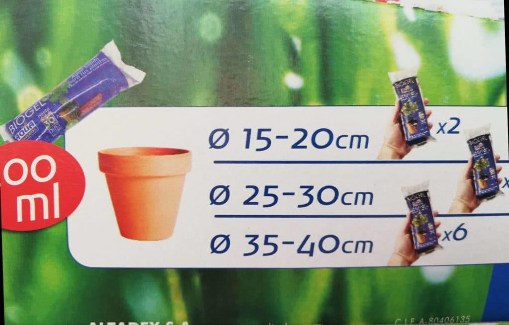 Medidas Regar con Hidrogel plants en Vacaciones